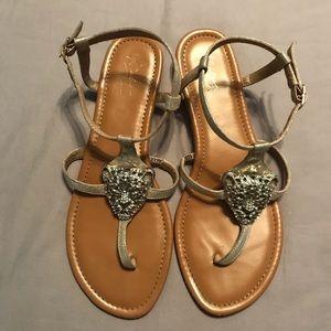 T-Strap gold sandals